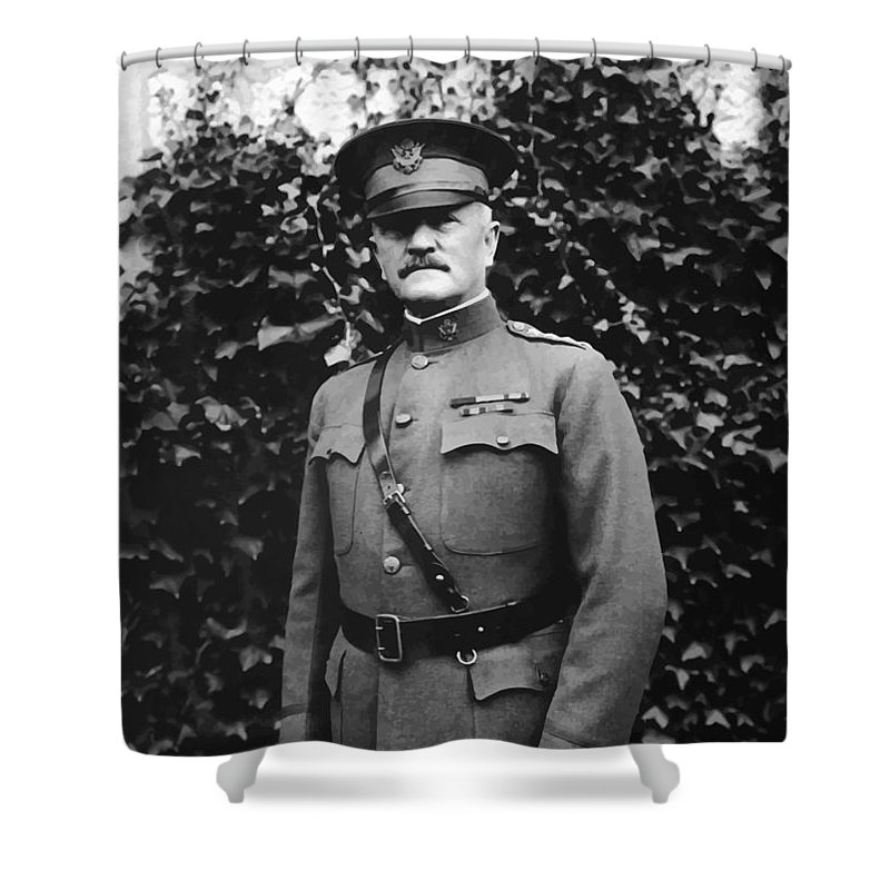 Ww1 Shower Curtain featuring the painting General John J. Pershing by War Is Hell Store