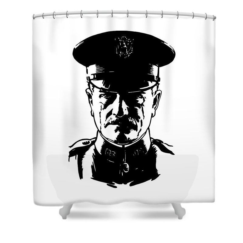 General Pershing Shower Curtain featuring the digital art General John Pershing by War Is Hell Store