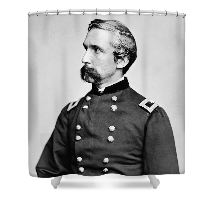 Joshua Lawrence Chamberlain Shower Curtain featuring the photograph General Joshua Chamberlain by War Is Hell Store