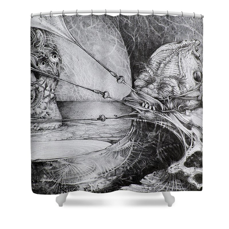 Surrealism Shower Curtain featuring the drawing General Peckerwood In Purgatory by Otto Rapp