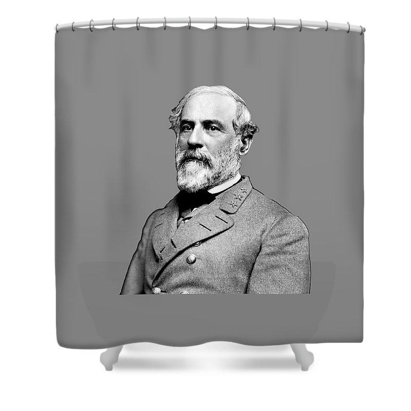 Usa Shower Curtain featuring the digital art General Robert E. Lee by Reggie Hart