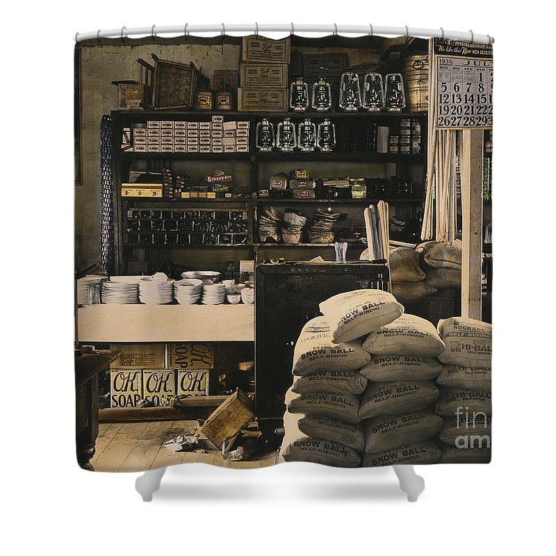 1936 Shower Curtain featuring the photograph General Store, 1936 by Granger