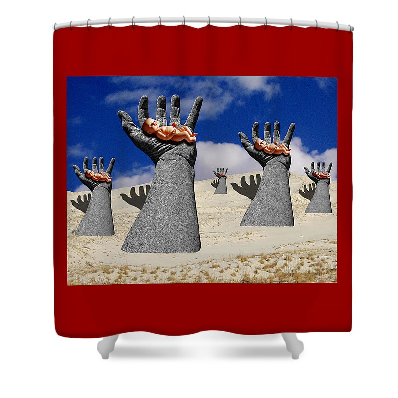 Babies Shower Curtain featuring the digital art Generation Of Hope by Keith Dillon