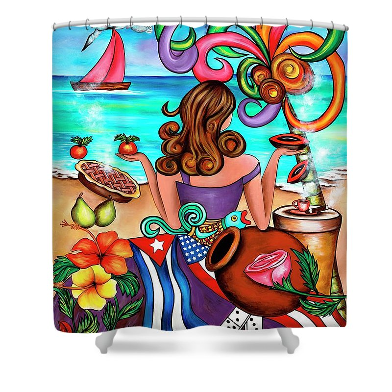 Cuba Shower Curtain featuring the painting Generation Spanglish by Annie Maxwell
