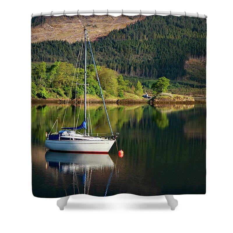 Scotland Shower Curtain featuring the photograph Genesta's Island by Martina Schneeberg-Chrisien