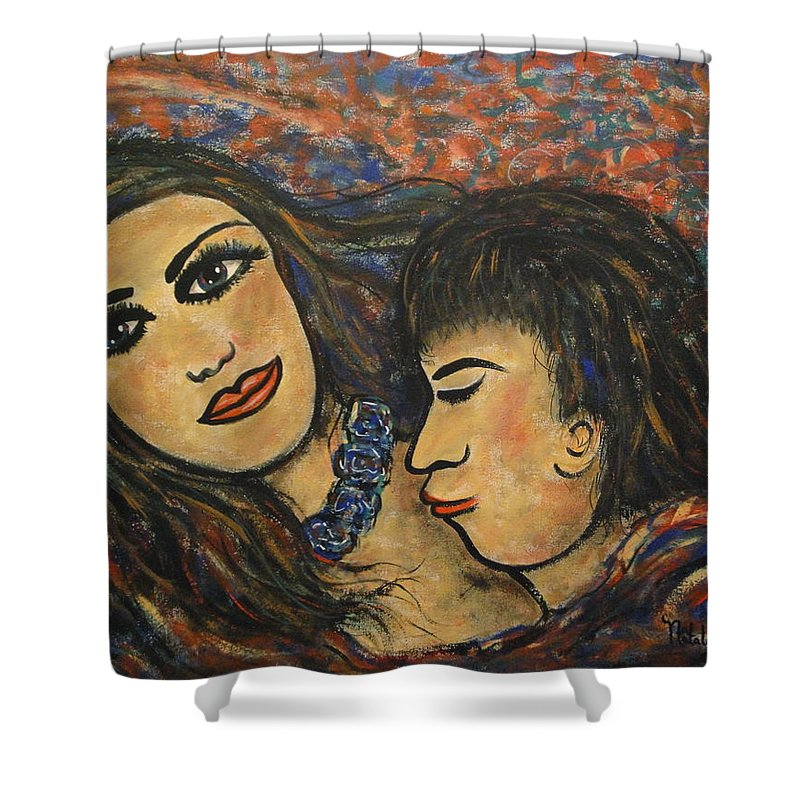 Canvas Prints Shower Curtain featuring the painting Gentle Loving Kiss by Natalie Holland