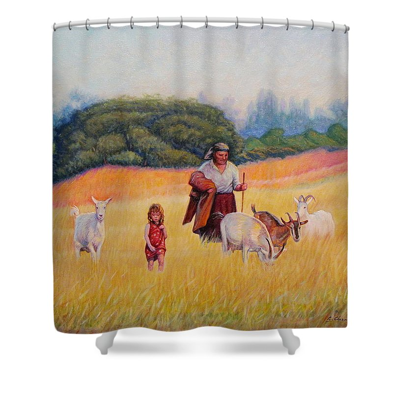 People Shower Curtain featuring the painting Gentle Shepherdess by Alexander Chernitsky