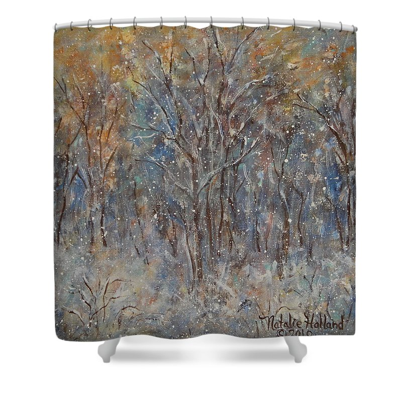Art Around The World Project Shower Curtain featuring the painting Gentle Snow by Natalie Holland