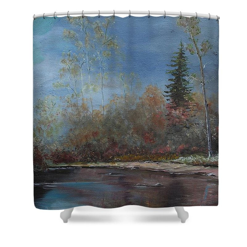 River Shower Curtain featuring the painting Gentle Stream - Lmj by Ruth Kamenev