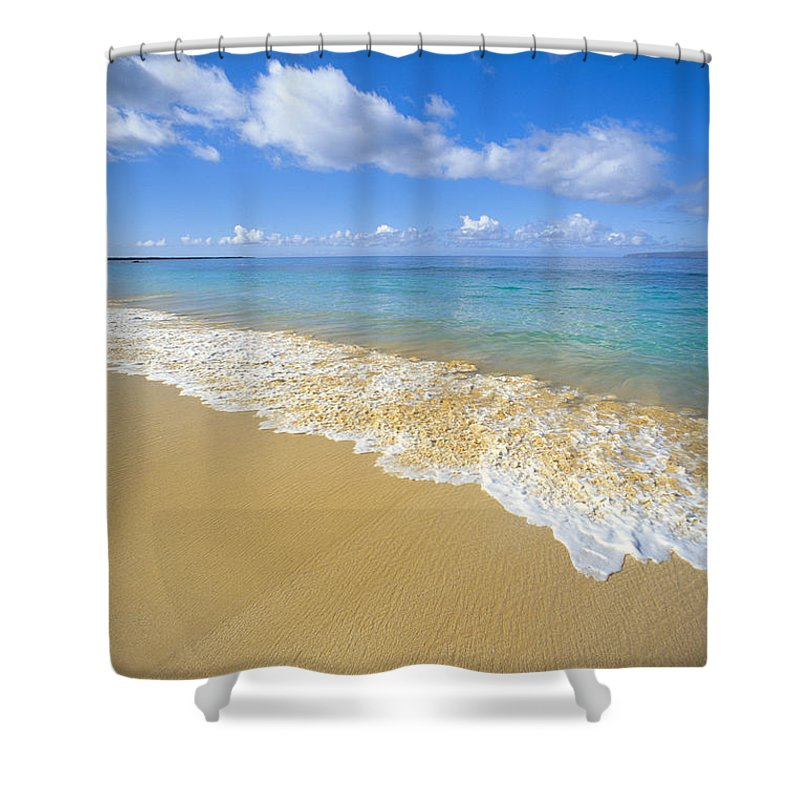 Afternoon Shower Curtain featuring the photograph Gentle Waves Rolling by Carl Shaneff - Printscapes