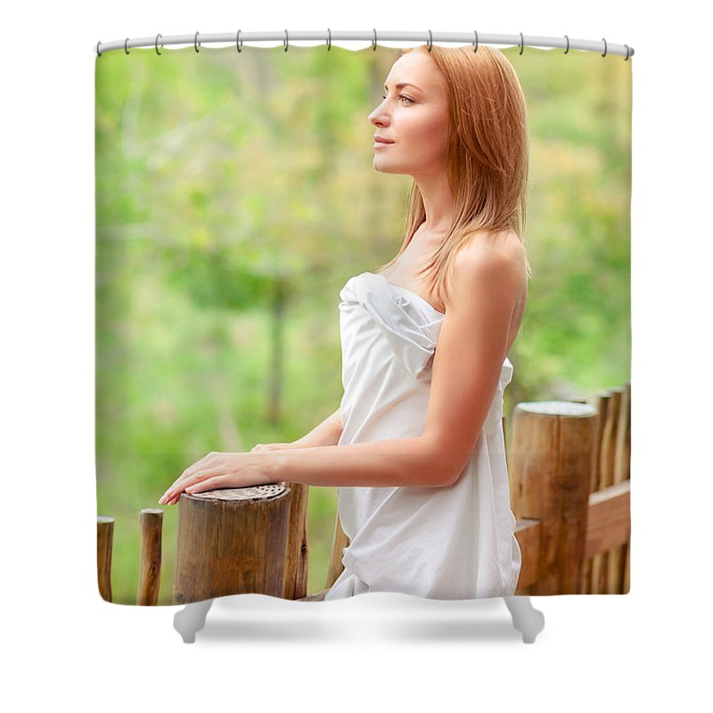 Backyard Shower Curtain featuring the photograph Gentle Woman On Terrace by Anna Om