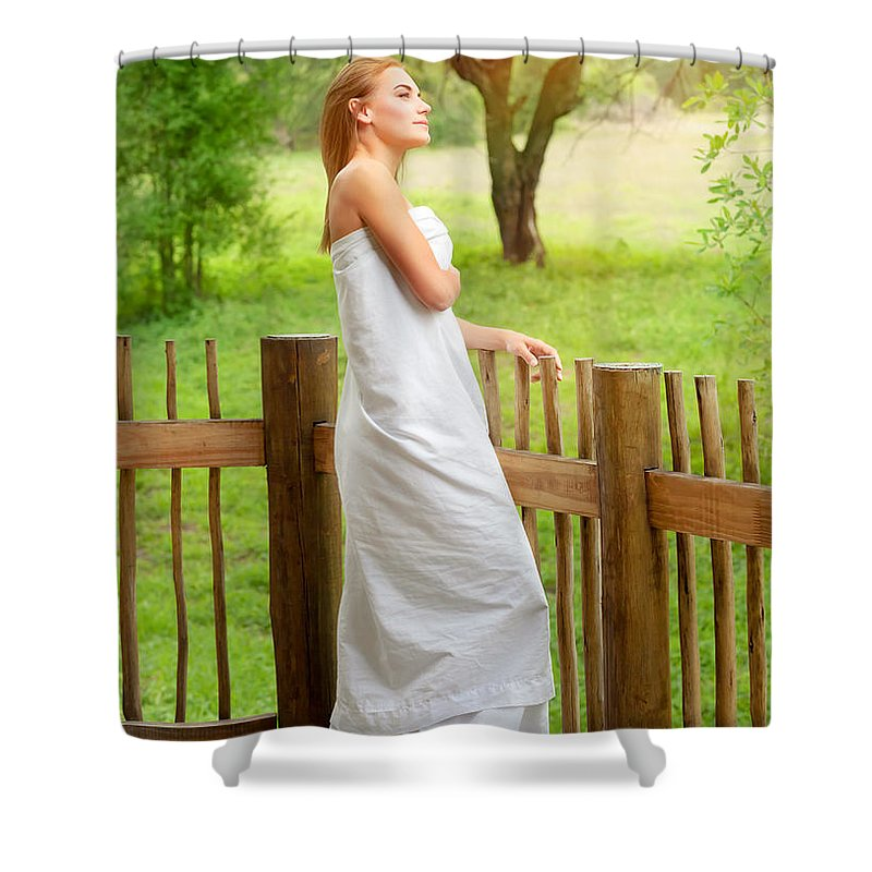 Adult Shower Curtain featuring the photograph Gentle Woman Standing On The Porch by Anna Om
