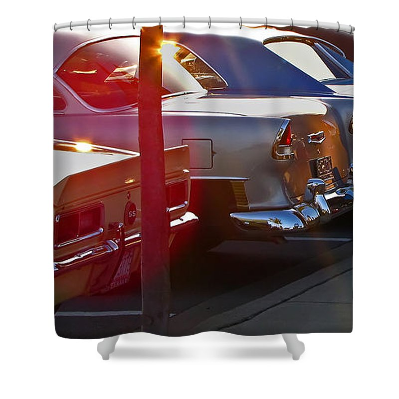 Antique Shower Curtain featuring the photograph Gentlemen Stop Your Engines by Gary Adkins