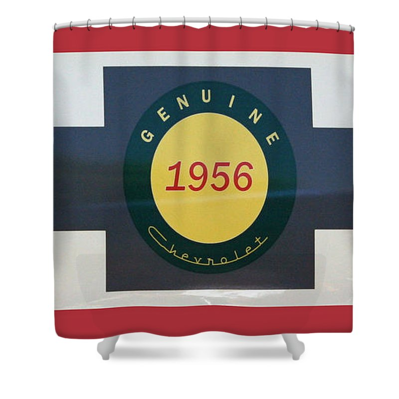 Chevy Shower Curtain featuring the photograph Genuine 1956 Chevrolet by Gwyn Newcombe
