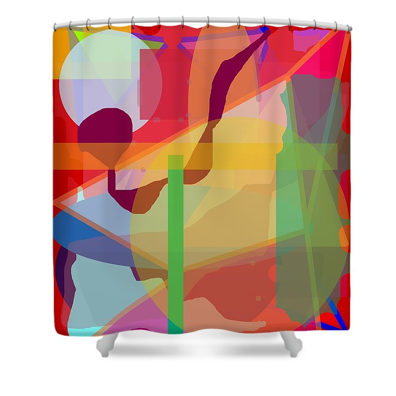 Abstract Shower Curtain featuring the painting Geo Frenzy by Pharris Art