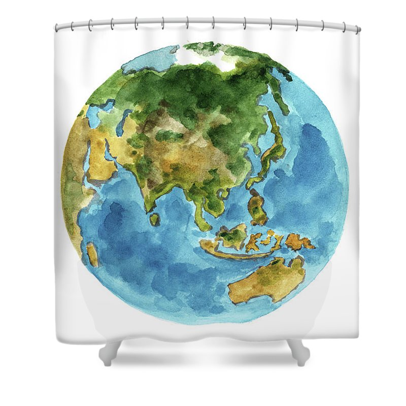 Planet earth colors geography world map australia new zealand painting shower curtain featuring the painting planet earth colors geography world map australia new gumiabroncs Choice Image