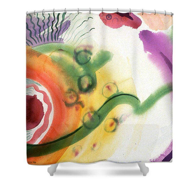 Abstract Shower Curtain featuring the painting Geomantic Blossom Ripening by Eileen Hale