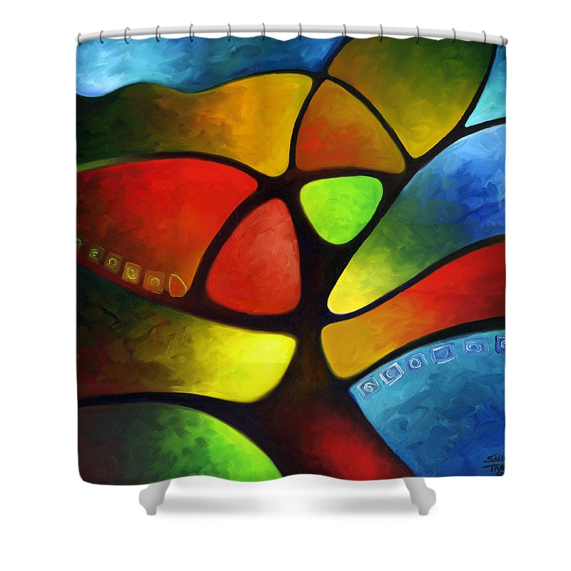 Tree Shower Curtain featuring the painting Geometree by Sally Trace
