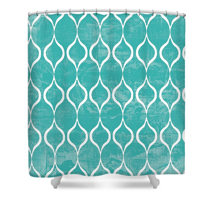 Tile Shower Curtain featuring the mixed media Geometric 3 by Marilu Windvand