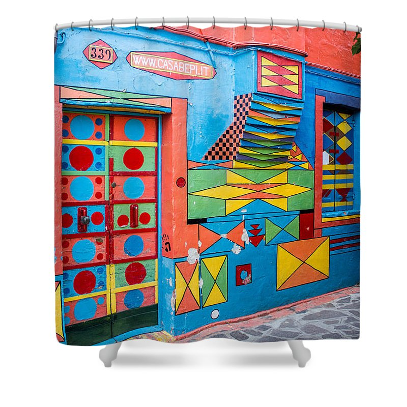Italy Shower Curtain featuring the photograph Geometric Art In Burano by Lisa Lemmons-Powers