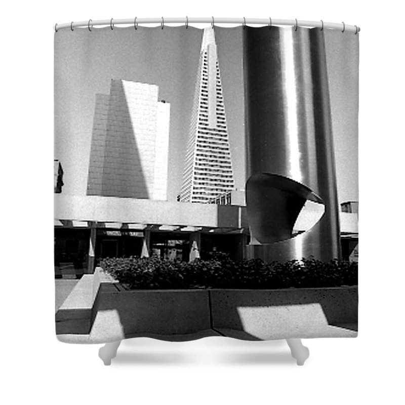 Cityscapes Shower Curtain featuring the photograph Geometry In Action by Norman Andrus