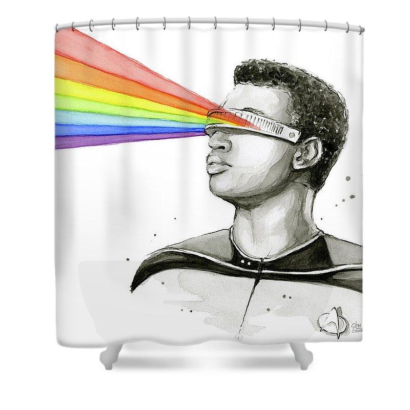 Star Trek Shower Curtain featuring the painting Geordi Sees The Rainbow by Olga Shvartsur