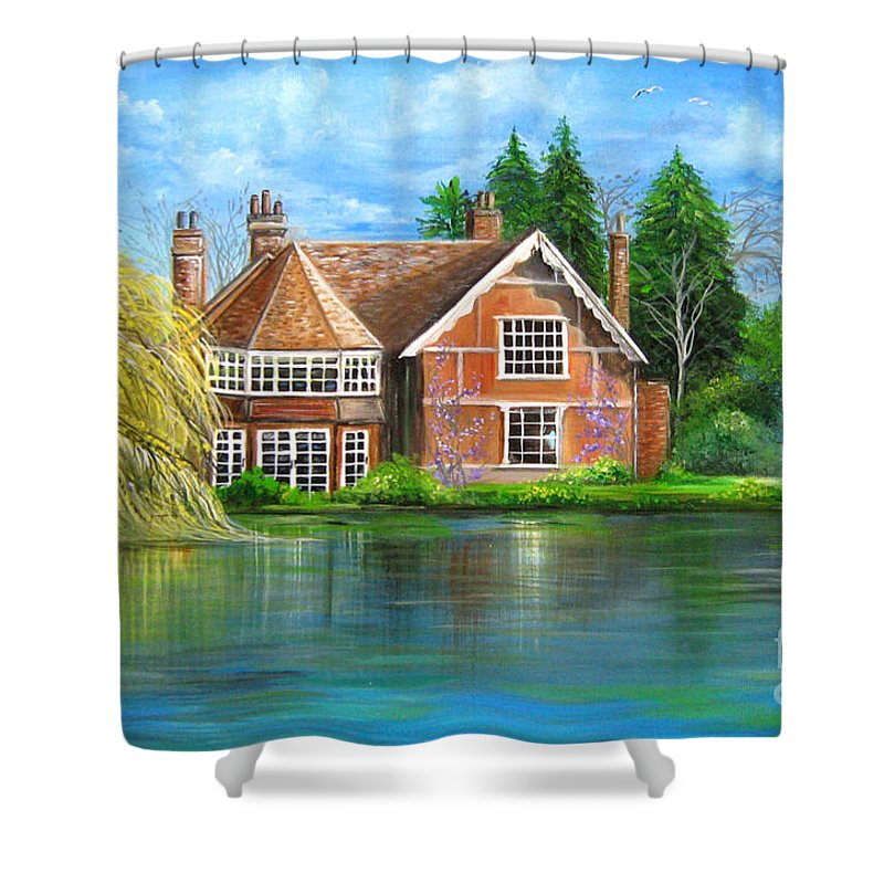 George Shower Curtain featuring the painting George Michaels Estate In Goring,england by Patrice Torrillo