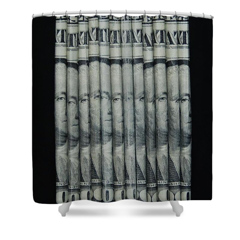 Money Shower Curtain featuring the photograph George by Rob Hans