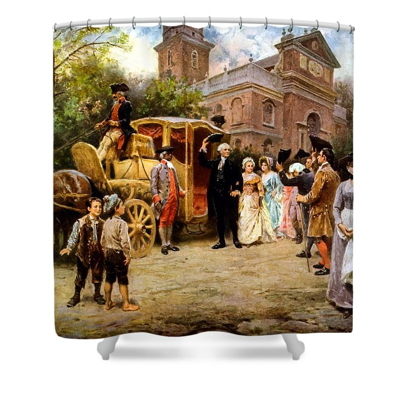 George Washington Shower Curtain featuring the painting George Washington Arriving At Christ Church by War Is Hell Store