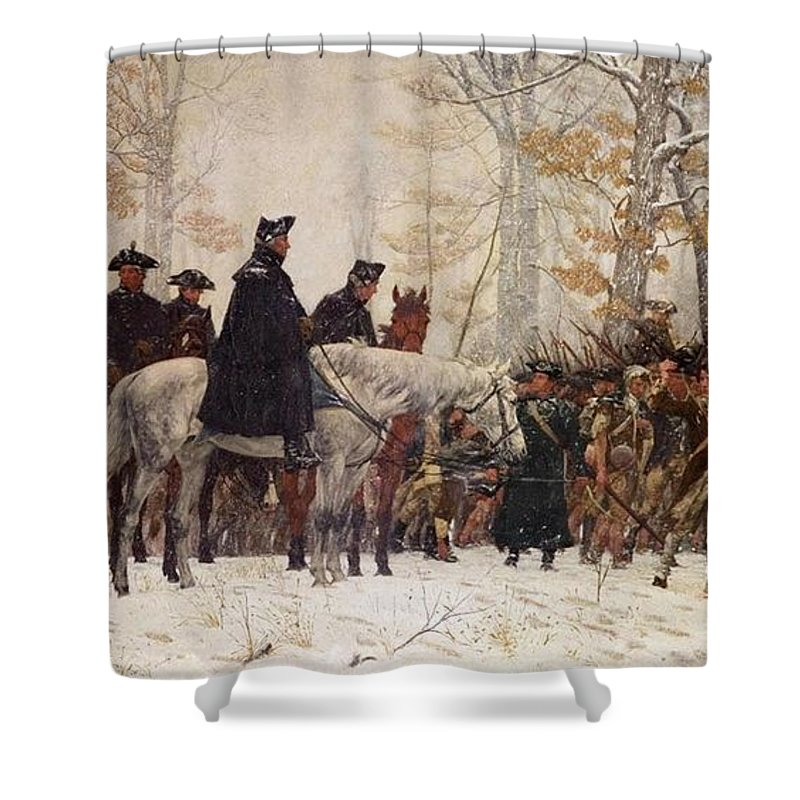 Charmant George Washington Watching Troops On March To Valley Forgeabstract Shower  Curtain Featuring The Painting George Washington