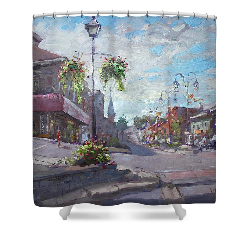 Georgetown Shower Curtain featuring the painting Georgetown Downtown by Ylli Haruni