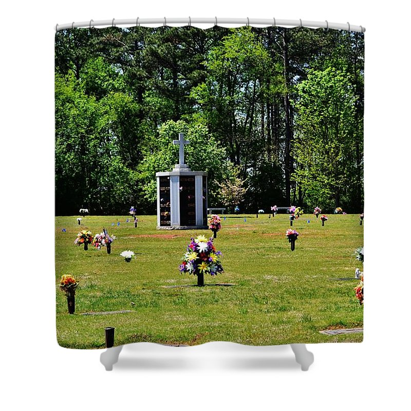 Cemetery Shower Curtain featuring the photograph Georgia Memorial Gardens by Eileen Brymer