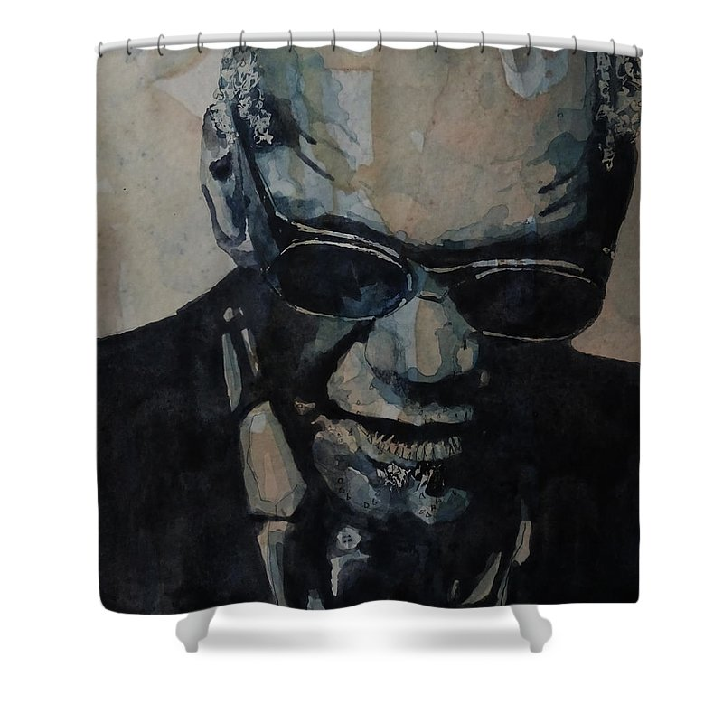 Ray Charles Shower Curtain featuring the painting Georgia On My Mind - Ray Charles by Paul Lovering