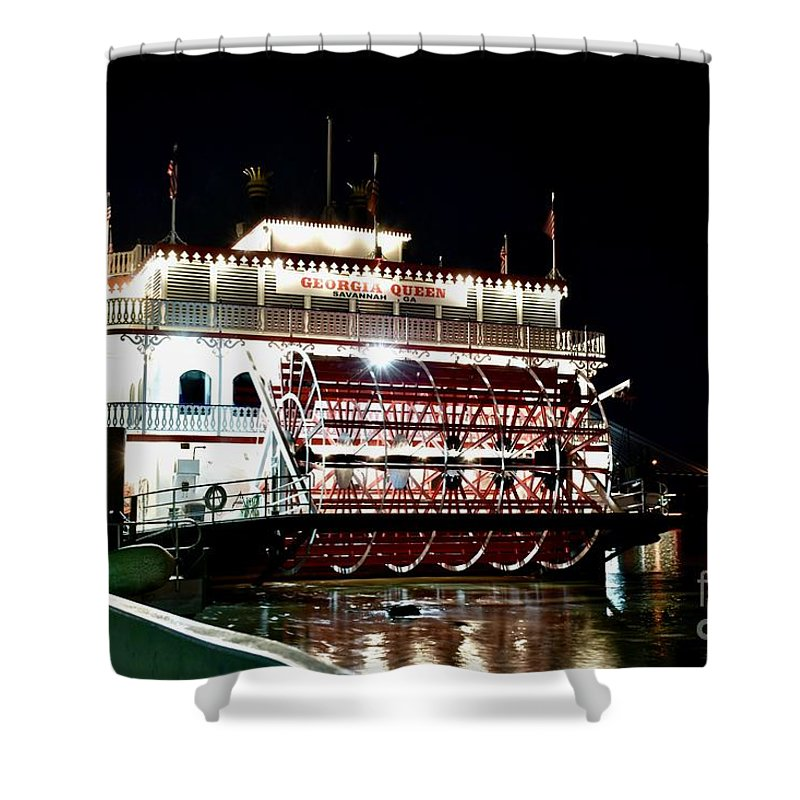 Boat Cruise Shower Curtain featuring the photograph Georgia Queen Riverboat On The Savannah Riverfront by Jeramey Lende