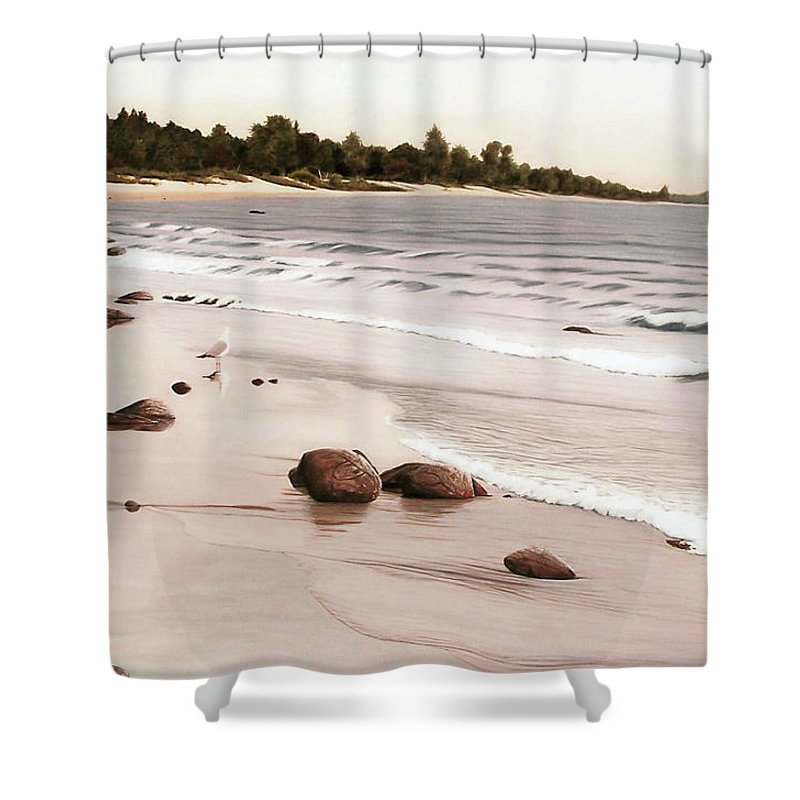 Landscapes Shower Curtain featuring the painting Georgian Bay Beach by Kenneth M Kirsch