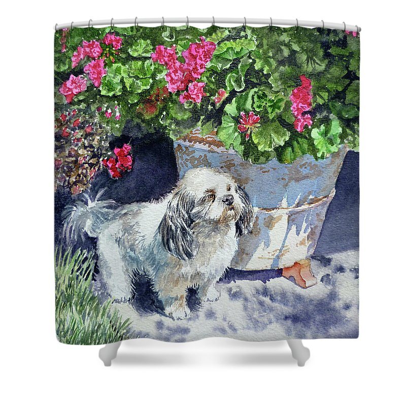 Animal Portrait Shower Curtain featuring the painting Georgie by Irina Sztukowski
