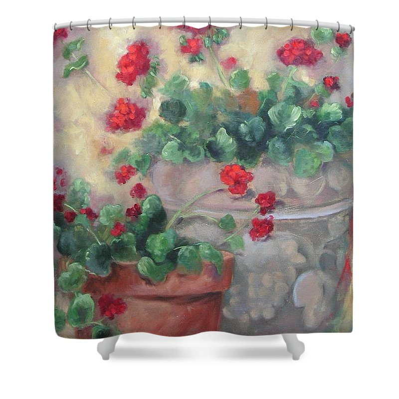 Geraniums Shower Curtain featuring the painting Geraniums by Ginger Concepcion
