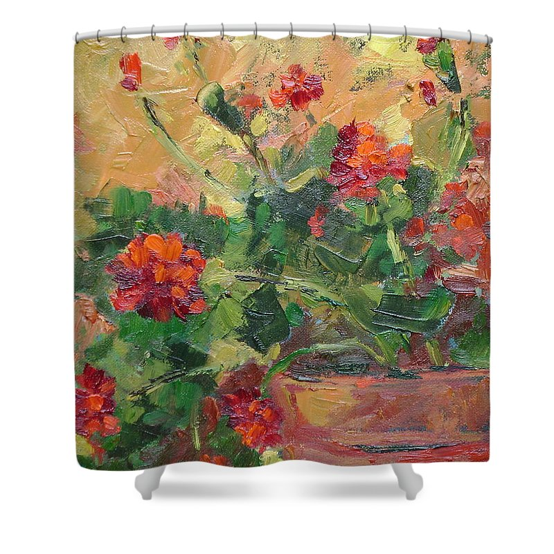 Geraniums Shower Curtain featuring the painting Geraniums II by Ginger Concepcion