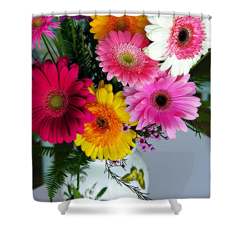 Flower Shower Curtain featuring the photograph Gerbera Daisy Bouquet by Marilyn Hunt