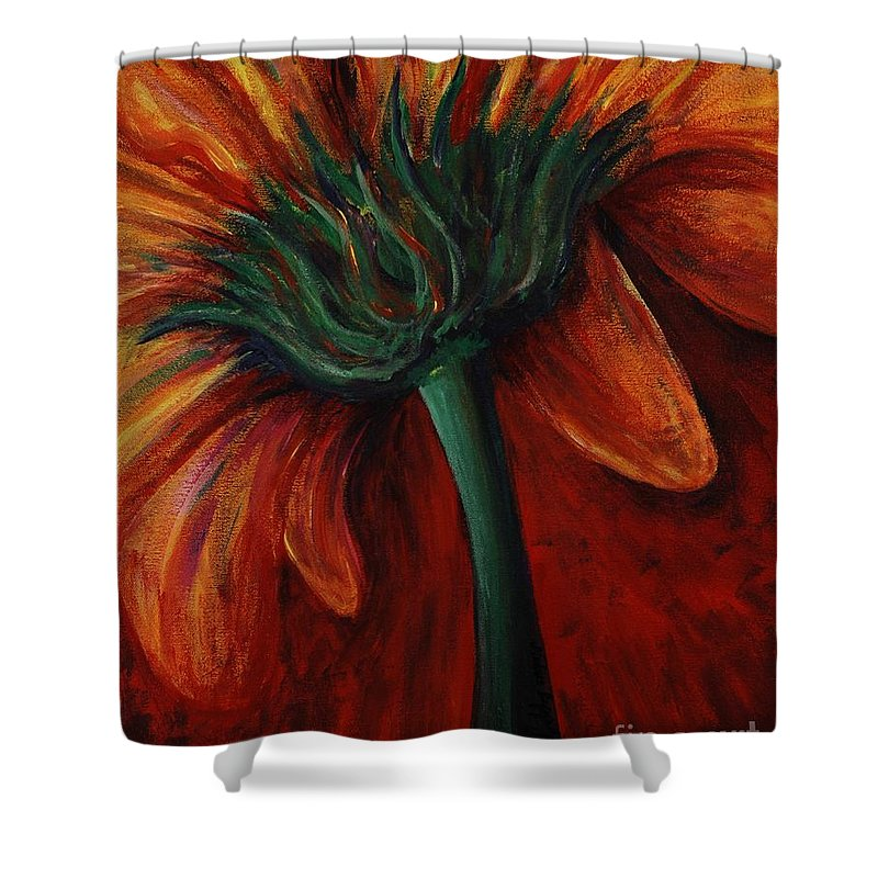 Gerbera Daisy.daisy Shower Curtain featuring the painting Gerbera Daisy by Nadine Rippelmeyer