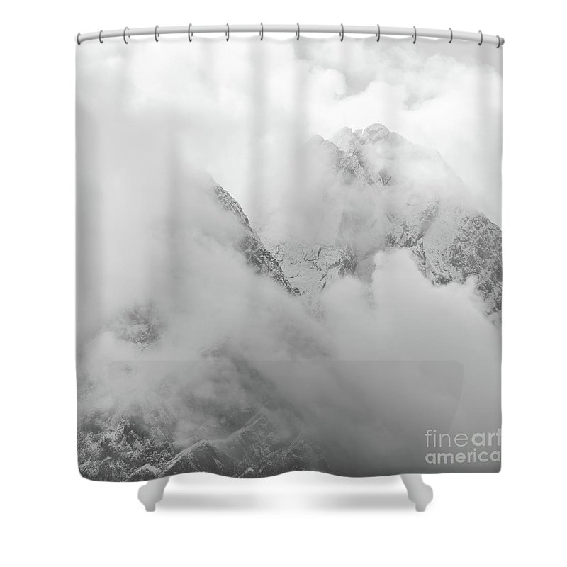 Zugspitze Shower Curtain featuring the photograph German Mountains In Clouds by Benjamin Reed
