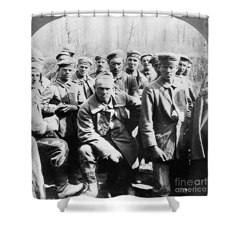 1918 Shower Curtain featuring the photograph German Prisoners Of War by Granger