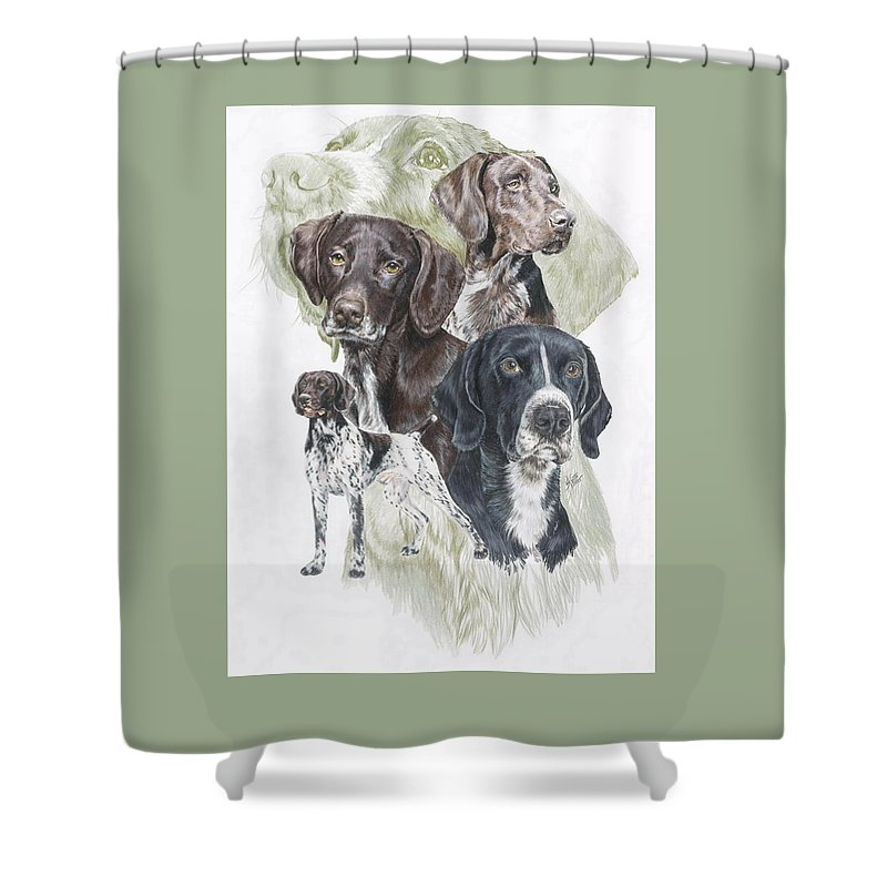 Gshp Shower Curtain featuring the mixed media German Shorted-haired Pointer Revamp by Barbara Keith