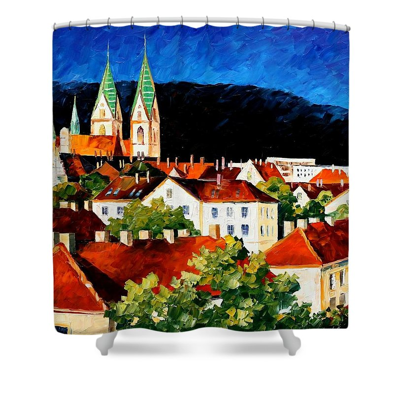 City Shower Curtain featuring the painting Germany - Freiburg by Leonid Afremov