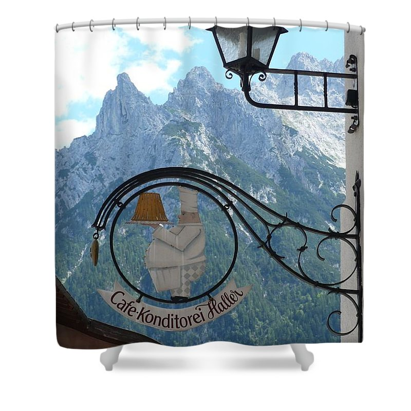 Bavarian Alps Shower Curtain featuring the photograph Germany - Cafe Sign by Carol Groenen