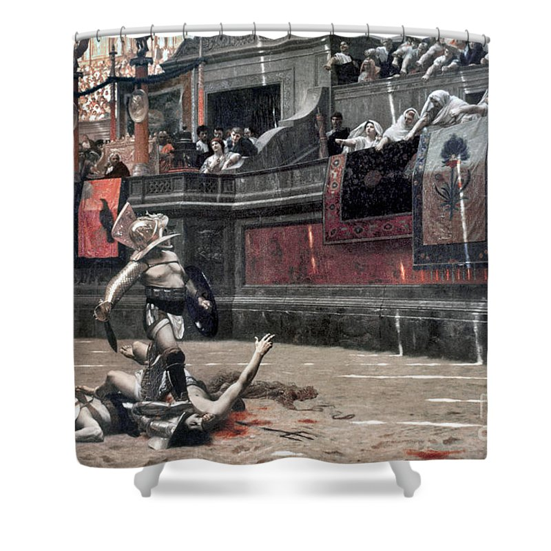 Ancient Shower Curtain featuring the photograph Gerome: Gladiators, 1874 by Granger