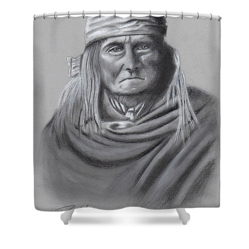 Geronimo Shower Curtain featuring the drawing Geronimo by Ray Habyan