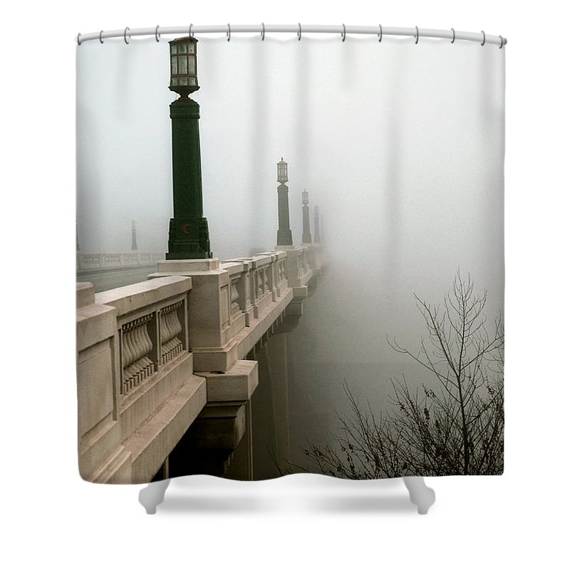 Bridge Shower Curtain featuring the photograph Gervais Street Bridge by Skip Willits