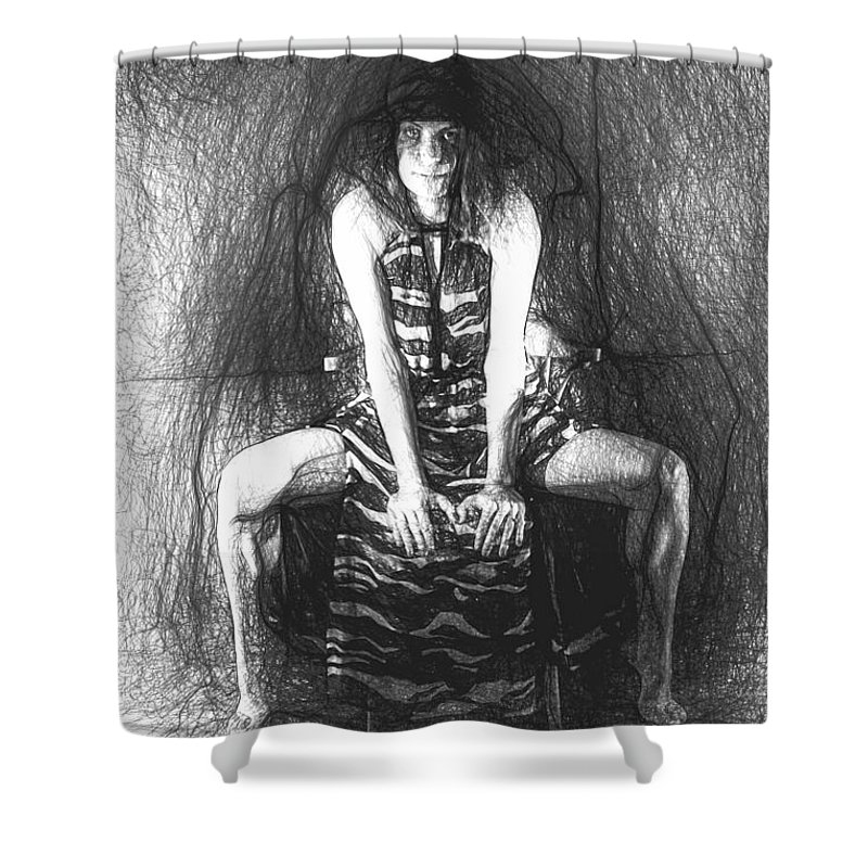 Art Shower Curtain featuring the painting Gery A by Picsvet Photography