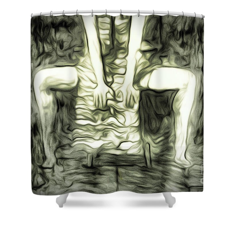 Art Shower Curtain featuring the drawing Gery by Svetlin Yosifov